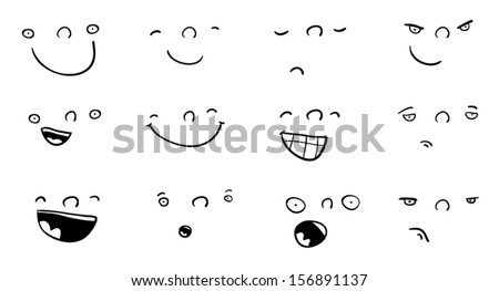 Set of funny cartoon faces with different expressions - stock vector