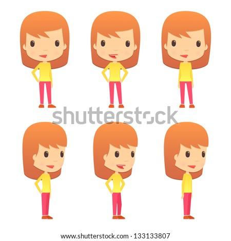 set of funny cartoon girl - stock vector