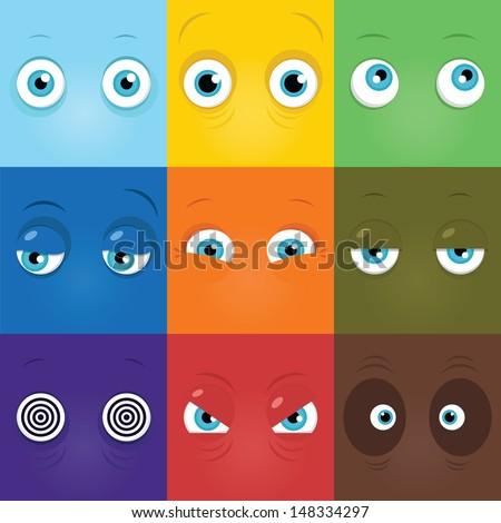 Set of funny cartoon monster eyes - stock vector