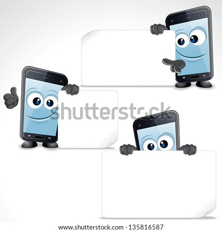 Set of Funny Cartoon Smartphone. Mobile Phone with Blank Sign and Thumb Up, Vector Clip Art - stock vector