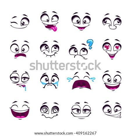 Set of funny cartoon vector comic faces, different emotions, isolated on white, design elements, different feelings avatars - stock vector