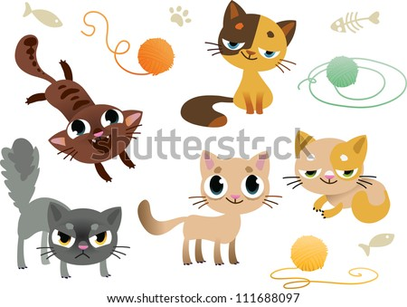 Set of funny cats - stock vector