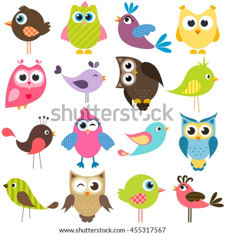 set of funny colorful birds - stock vector