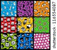 Set of funny colorful seamless patterns. - stock vector