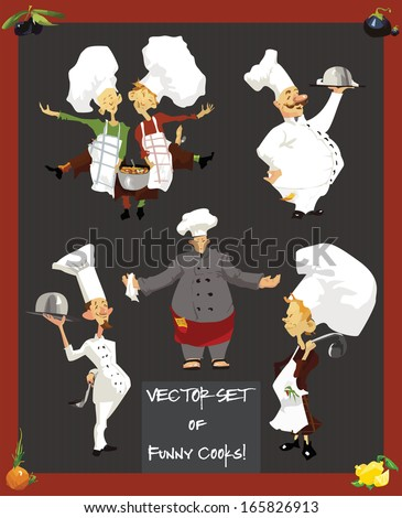Set of funny cooks - stock vector