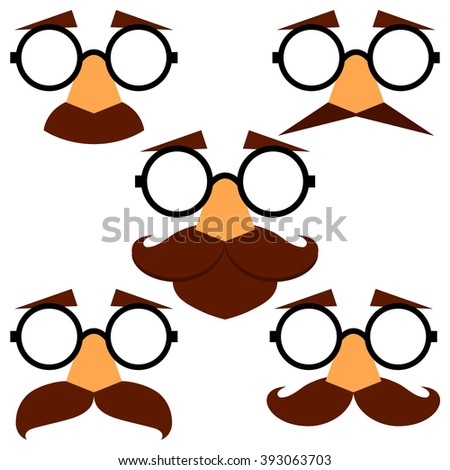 Set of funny disguise masks with eyebrows, glasses and mustache. Vector illustration. - stock vector