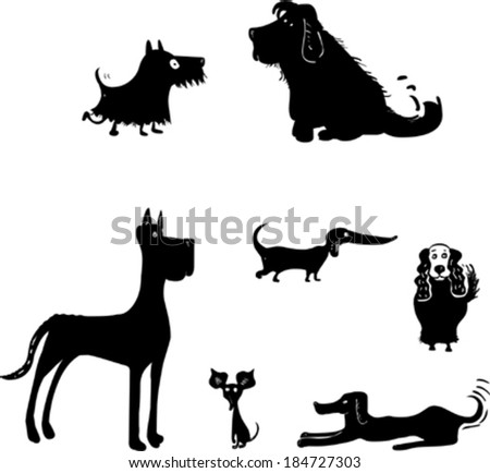Set of Funny Dog Silhouettes  - stock vector