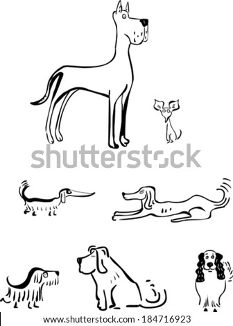 Set of funny dogs - stock vector