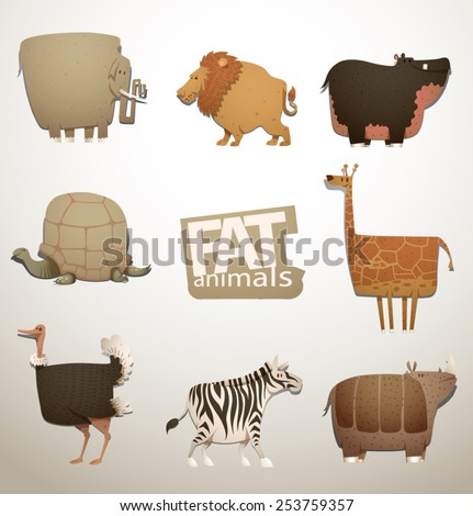 Set of Funny Fat  Animals, vector - stock vector