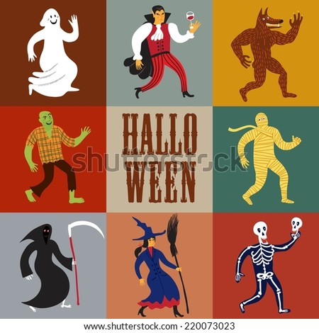 Set of funny halloween cartoon characters. Editable vector format. - stock vector