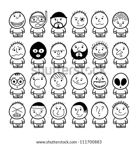 Set of funny hand drawn characters. - stock vector