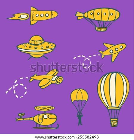 Set of funny hand drawn vector aircrafts. - stock vector
