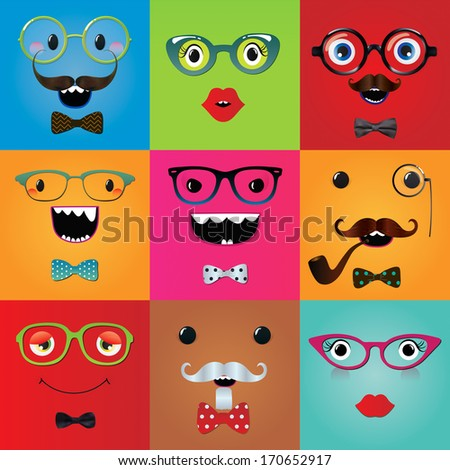 Set of funny hipster monster eyes and face expressions. Vector illustration.  - stock vector