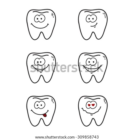 Set of funny line cartoon teeth with positive emotions - stock vector