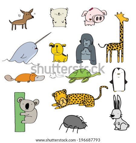 Set of funny little cartoon animals - stock vector