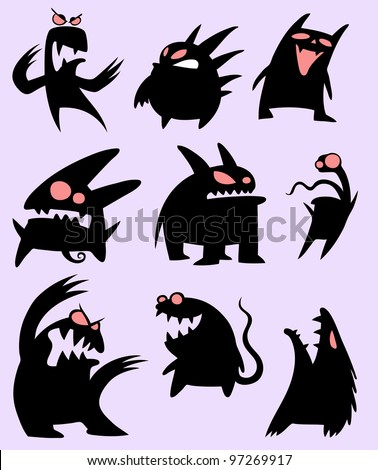 Set of funny monsters in black silhouette - stock vector