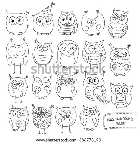 Set of funny owls. Drawn by hand. Vector illustration of a black contour isolated on white background - stock vector