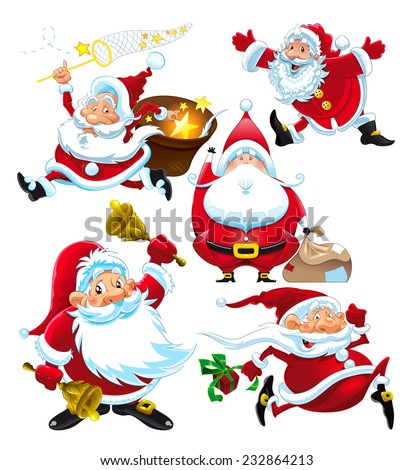 Set of funny Santa Claus. Vector isolated characters. - stock vector