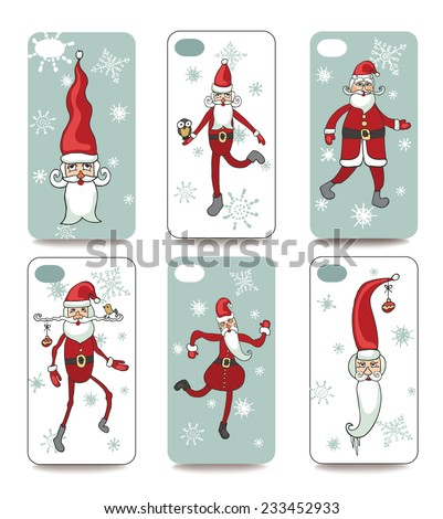 Set of Funny Santa Klaus for mobile phone cover. The visible part of the clipping mask. The sample is ready for printing after the release clipping mask.Christmas, new year Vector illustration  - stock vector