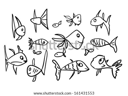 Set of Funny Sketch Fishes - stock vector