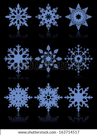set of funny snowflakes for Christmas black design - stock vector