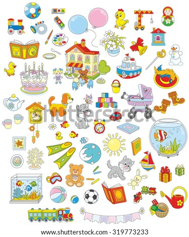 Set of funny vector toys, pets, gifts and other objects on a white background  - stock vector