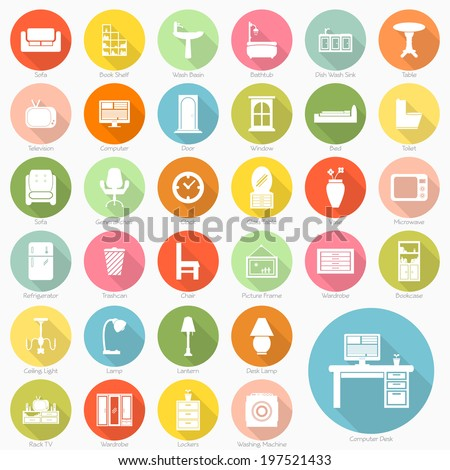 Set of furniture flat icons design, vector eps10 - stock vector