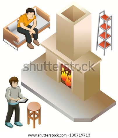 set of furniture isometric. detailed interior isometric series - stock vector