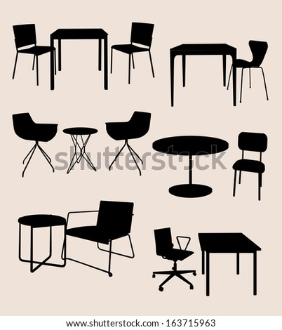 set of furniture. Tables and chairs. vector silhouette - stock vector