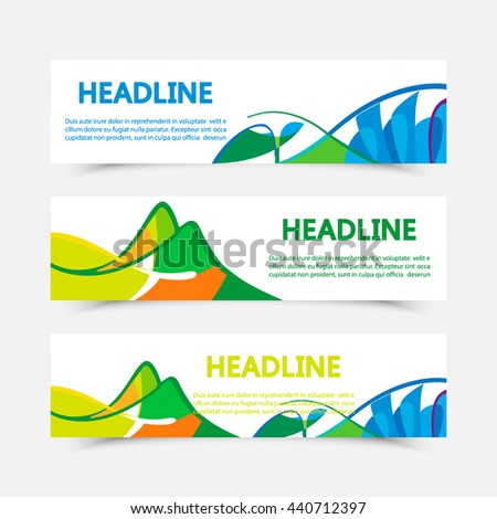 Set of fyers in colors of Brazil. Three color concept. Can be used in cover design, book design, website background, CD cover, advertising. Summer olympic games 2016. RIO. Parolympic - stock vector