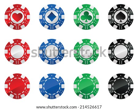 Set of gambling poker chips isolated on white background - stock vector