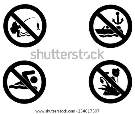 Set of garden park prohibition vector signage.  - stock vector