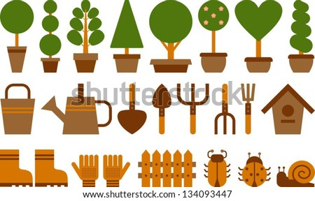 set of garden tools and topiary in terracotta pots - stock vector