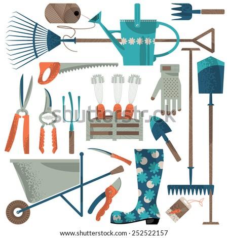 Set of garden tools. Vector illustration - stock vector