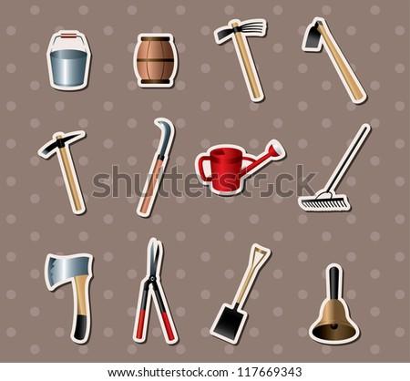 set of Gardening tools stickers - stock vector
