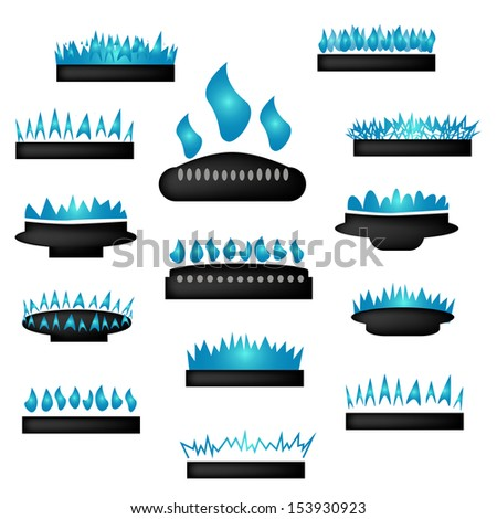Set of gas icons with burner.  - stock vector