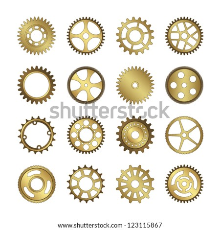 set of gear wheels vector - stock vector