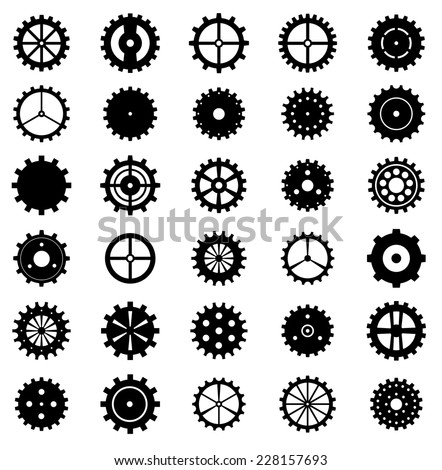 Set of gear wheels, vector illustration. - stock vector