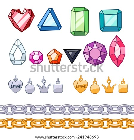 Set of gemstones,decorative elements and chains. Golden and silver. Cartoon style. - stock vector