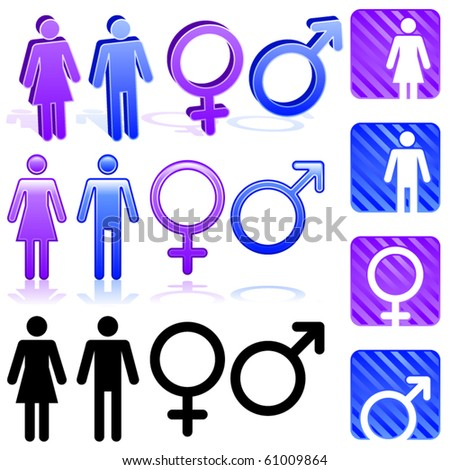 Set of gender icons in three different styles - stock vector