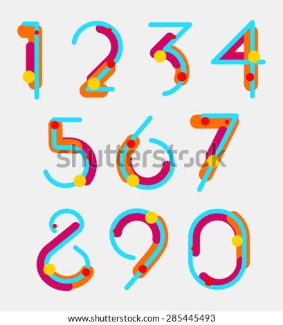 Set of geometric digits. vector - stock vector