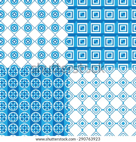 set of geometric patterns blue . circles and squares vector background - stock vector