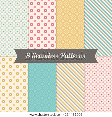 Set of Geometric Patterns with Flowers, Polka Dot and Diagonal Stripes in Pink, Yellow, Grey, Turquoise and Beige. Perfect for wallpapers, textile, wrapping and gift papers, birthday and wedding cards - stock vector