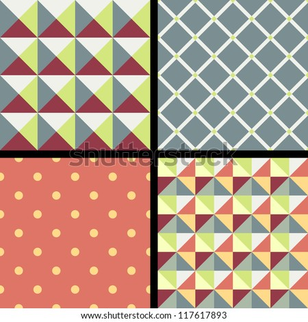 Set of geometric patterns with ornament - stock vector