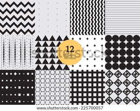 Set of 12 geometric seamless patterns - stock vector