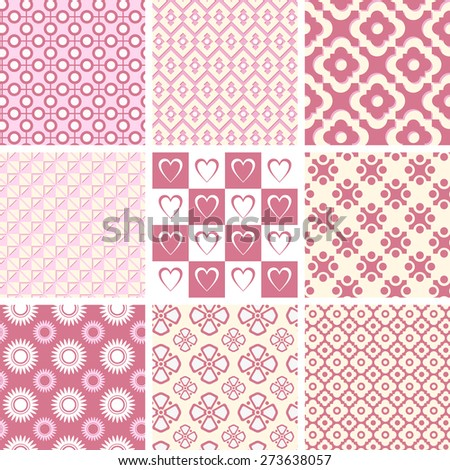 Set of geometric seamless patterns. - stock vector