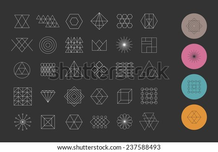 Set of 30 geometric shapes. Trendy hipster retro backgrounds and logotypes. - stock vector