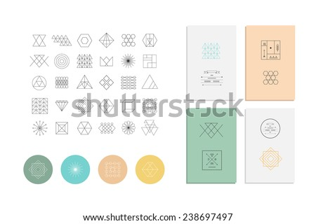Set of geometric shapes. Trendy hipster retro backgrounds and logotypes. - stock vector