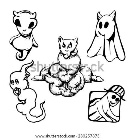 set of ghost isolated on white - stock vector