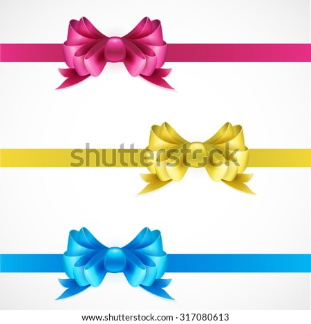 Set of gift bows with ribbons. Pink, gold and blue color. EPS 10 - stock vector